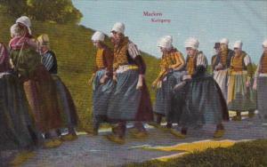 Netherlands Marken Kerkgang Local Women Going To Church In Traditional Costume