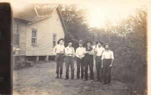 Macedonia Ohio Men With Hats Real Photo Antique Postcard K85047