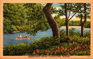 Maine Greetings From Limestone 1950