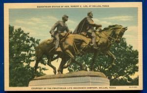Robert E Lee Confederate Monument Statue Dallas Texas linen Postcard