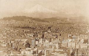 Portland OR Aerial View City & Mt. Hood Cross & Dimmitt RPPC Postcard