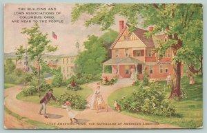 Columbus Ohio~Building & Loan Assn~American Home~Liberties Safeguard~1910 Adv PC