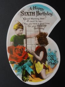 Girls 6th Birthday Greeting NUMBER CARD Little Girl Dressed as a Fairy c1930 RP