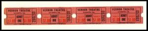 4 Vernon Movie Theatre 1 Dollar Tickets, Leesville, Louisiana/LA, 1960's?