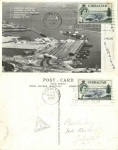 Gibraltar, Aerial View Harbour (1959) Postcard