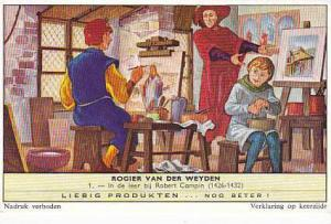 Liebig Trade Card s1764 Roger de la Pasture No 1 In de leer bij Robert Campin