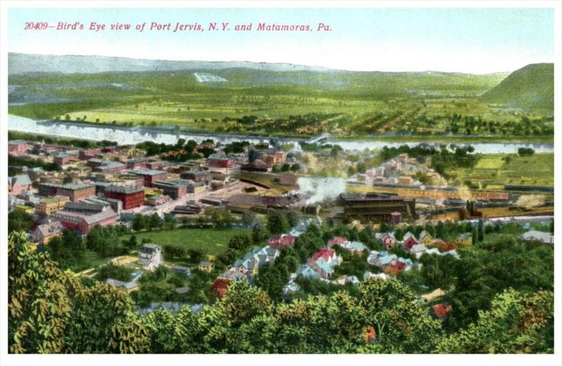 7240 Aerial View of Port Jervis NY and Matamoras PA