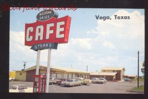 VEGA TEXAS WESTERN SKIES CAFÉ 1960's CARS ROUTE 66 ADVERTISING POSTCARD