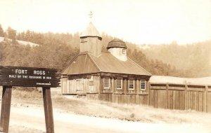 RPPC Old Russian Chapel, Fort Ross Wooden Sign, Jenner, CA c1940s Zan Postcard
