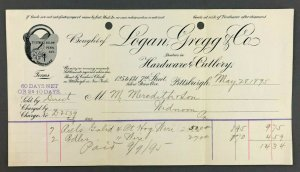 1895 Logan Gregg Co Cutlery 7th St Penn Ave Pittsburgh PA Receipt Bill Widnoon