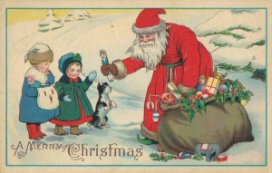 A Merry Christmas Santa Claus Giving Toys 03.64