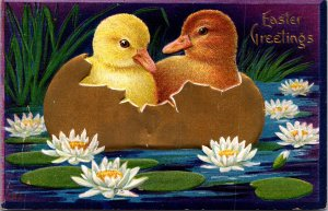 Winsch Easter baby chicks gold egg boat water lilies lilypads striking color