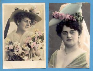 2 PHOTO POSTCARDS EDWARDIAN LADIES FASHION BIG TOP HAT pin up girls lady women