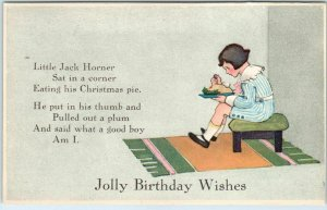 c1910s Greetings Postcard Jolly Birthday Wishes Little Jack Horner UNUSED