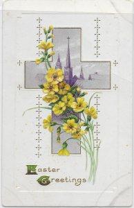 US Easter Greetings.  Embossed. used, no postage. Nice.