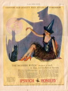 Vintage 1927 Ipswich Hosiery Ad Witch & Black Cat Modern Witch Weaves a Spell