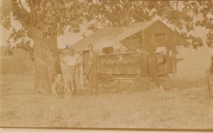Real Photo Postcard~Men With Vendor Wagon~Bottles on Counter~Open Tent Roof~1915