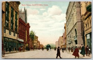 Hartford CT~Opera House~Pedestrians Cross Main Street in Front of Trolley~1910