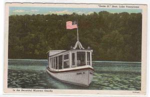 Motor Launch Sadie H Lake Taneycomo Ozarks Missouri linen postcard