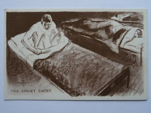 WW2 Military Comic Postcard THE SHORT SHEET c1943 by Marshall Davis