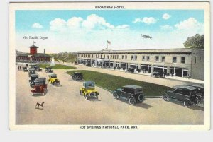 PPC POSTCARD ARKANSAS HOT SPRINGS BROADWAY HOTEL MO PACIFIC DEPOT AIRPLANE MODEL