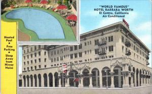 EL CENTRO, CA  World Famous BARBARA WORTH HOTEL c1940s Roadside Linen Postcard