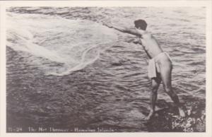 Hawaiian Islands Fisherman The Net Thrower 1949 Real Photo