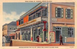 ST THOMAS VIRGIN ISLANDS~DRUG STORE-HEADQUARTERS FOR RUMS POSTCARD 1940s