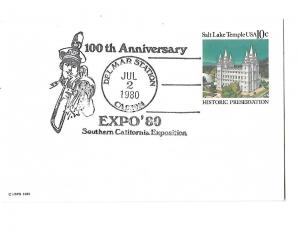 Expo'80 Southern California Exposition 100th Anniversary Delmar Station Cancel
