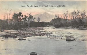 Glenwood Springs Colorado~Stones along Shoreline~Trees~Mount Sopris~c1910 Pc