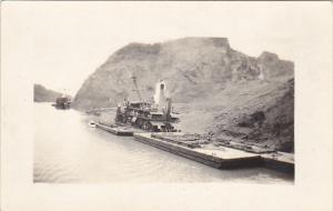 Panama Steam Shovel and Barge In Panama Canal Real Photo