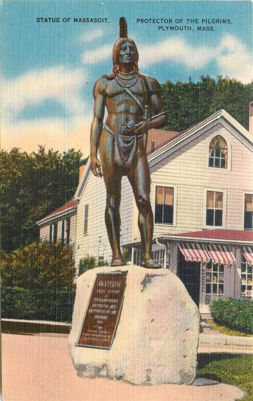 MA, Plymouth, Massachusetts, Statue of Massasoit, Colourpicture No. K6670