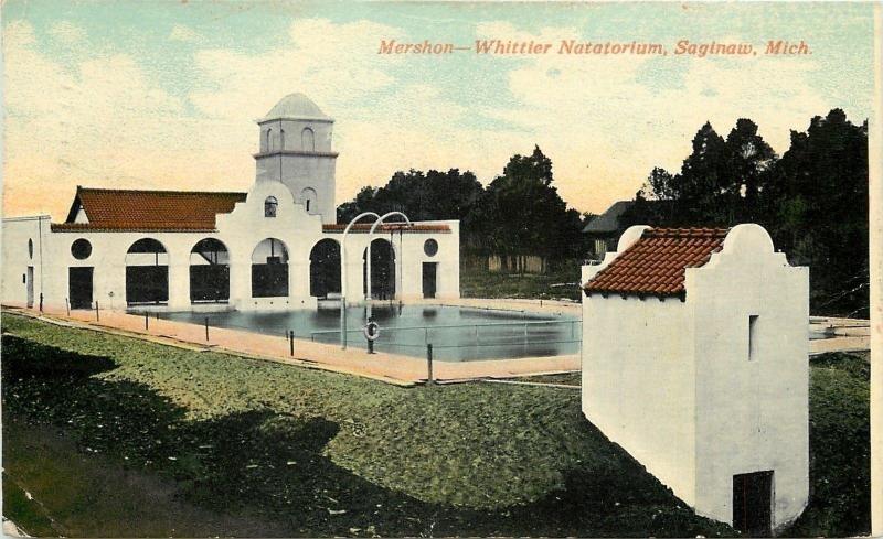Saginaw MI~Mershon-Whittier Natatorium~Swimming Pool Bathouse~1905 Postcard