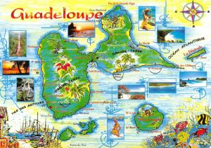 Caribbean Island Guadeloupe Map Postcard, French France Antilles Francaises 6D