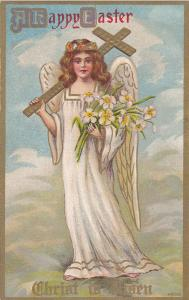 EASTER ; Angel , White Wings carrying a cross , 00-10s