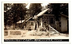 RPPC Moonlight Camp, Manchester, TN Real Photo Postcard *5D