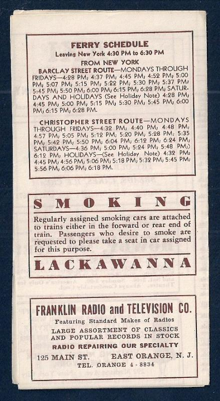 LACKAWANNA Railroad Timetable Newark NJ to Grove St NY c1948
