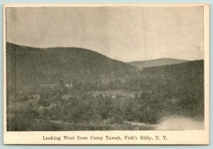 Fish's Eddy New York~View West from Camp Tawah~Hills in Distance~c1910 B&W