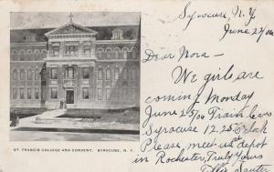 St Francis College and Convent - Syracuse NY, New York - pm 1906 - UDB