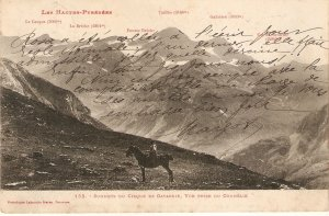 Horseman in the Pyrenees Mountains Old vintage antique French postcard