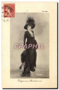 Postcard Old Fashion Woman Parisian elegance Paris
