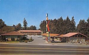 Seattle Washington~Sandstone Motel~Neon Sign~Pacific Highway~1950s Cars~Postcard