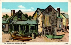 Massachusetts Marblehead Old Lobster Huts 1950 Curteich