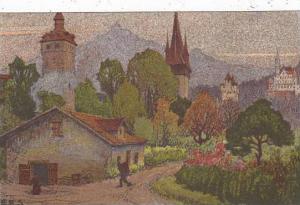 Switzerland Ernst Schlatter Museggtuerme Mit Guetsch Und Pilatus