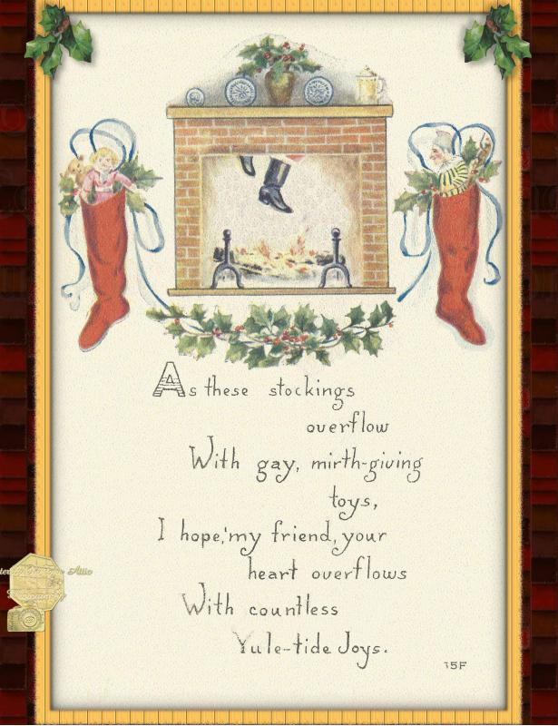 Set of 6 Holiday Postcards, Santa Clause Coming Down Chimney with Stocking Hung
