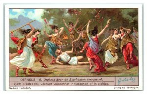 1931 Torn Apart by the Bacchae, Orpheus, Liebig Belgian Trade Card *VT32A