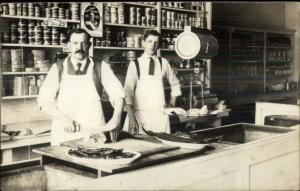 Chicago IL Fish Market Butcher & Son CRISP Fine Photography c1910 RPPC spg