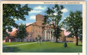 Hagerstown, Maryland Postcard Washington County Hospital Marken Bielfeld Linen