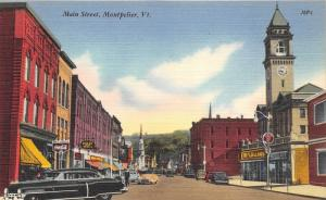 Montpelier Vermont~Main Street~McLellans~Kelly Tire~Billiards/Coca-Cola Sign~40s