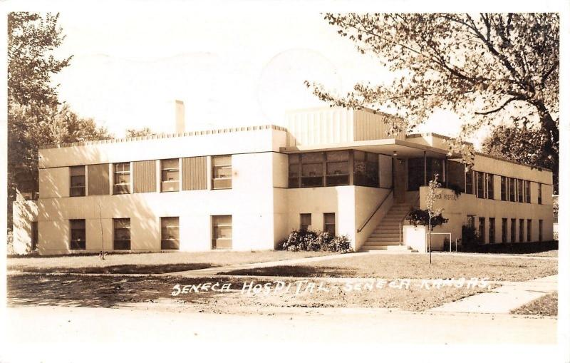Seneca KS~Art Deco Hospital~Real Photo Postcard RPPC 1947